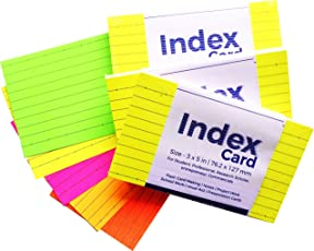 N N Innovation Index Card (3x5 Inch) Ruled Flash Card with Five Colors 76.2x127mm, 3 Sets (50 Cards x 3 Sets = 150 Cards)