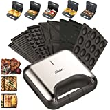 5-in-1 sandwichmaker, 800 W, 5 verwisselbare platen, wafelijzer, contactgrill, elektrische grill, multigrill, notenbakker, to