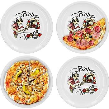 Van Well 4er Set Pizzateller groß Ø 32.5 cm mit Küchenchef-Motiv Gastro-Zubehör Pizza-Bäckerei stabiles Porzellan-Geschirr Grill-Teller Servier-Platte Antipasti