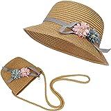 Strohhut und Kleine Tasche Set Mädchen Kinder Sommer Sonnenhut mit Blumendekoration für den Urlaub Reise Outdoor-Aktivitäten