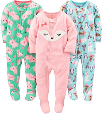 Simple Joys by Carter's 3-Pack Loose Fit Flame Resistant Fleece Footed Pajamas Bimba 0-24, Pacco da 3