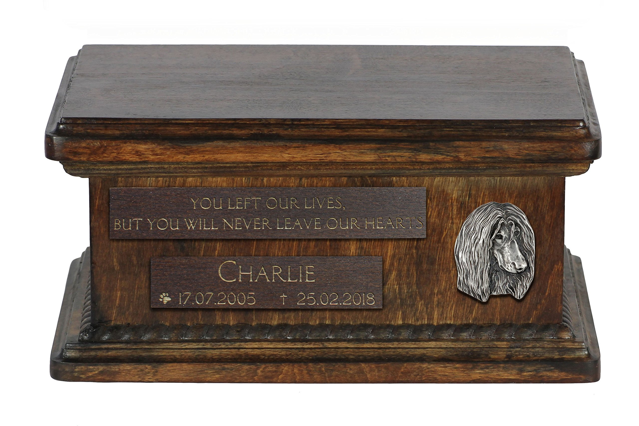 ArtDog Ltd. Afghan Hound, urn for dog's ashes with relief and sentence with your dog name and date