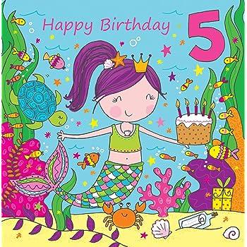 Twizler 5th Birthday Card For Girl With Cute Mermaid Glitter