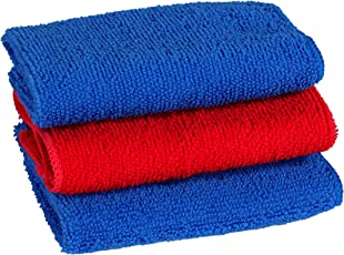 Raymons Microfiber Vehicle Washing Soft and Smooth Cloth Magic Wipe Or Kitchen Cleaning Cloth Size-25x25 3 Piece Blue & Red