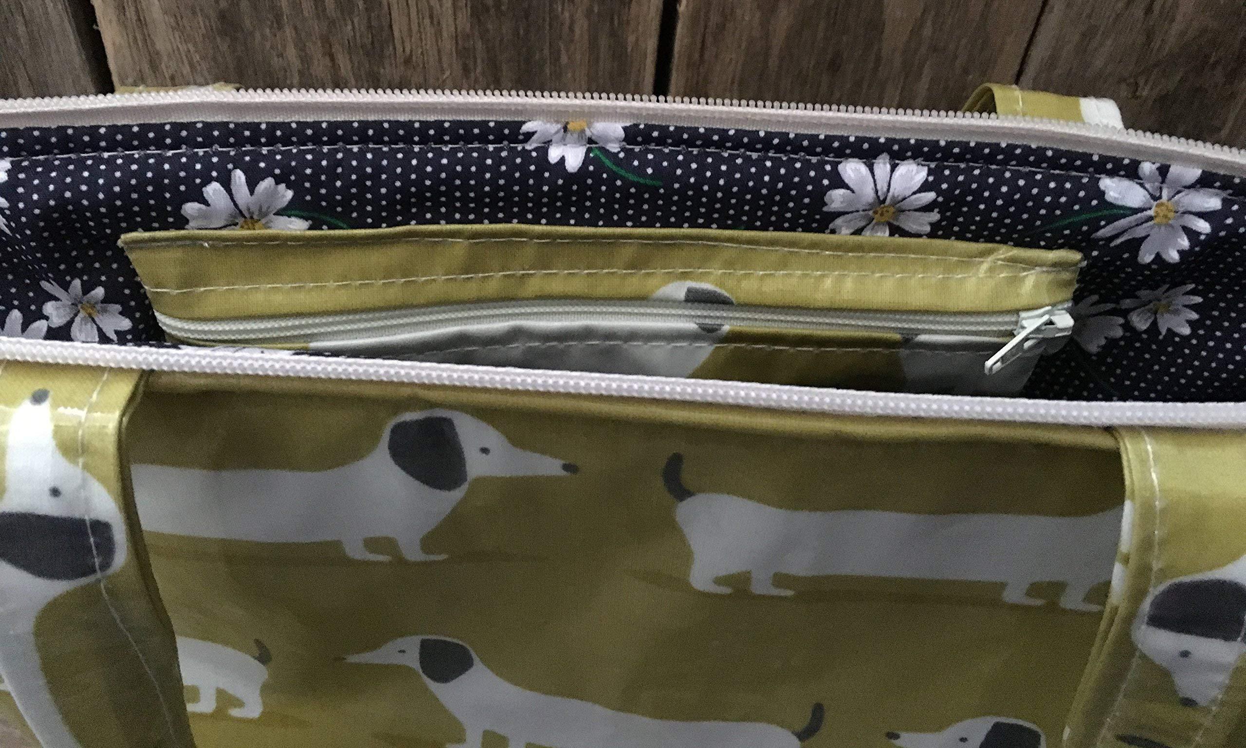 Tote bag,shopping bag,hand bag,book bag,school bag,lime green dachshund oilcloth - handmade-bags