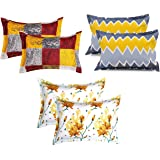 BSB Home Cotton 120 TC Pillow Cover, 6 Pieces - King, Multicolor