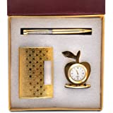 Celebr8 3 in 1 Golden Corporate Gift Set with Apple Clock, Crystal Pen, Business Card Holder (Golden)