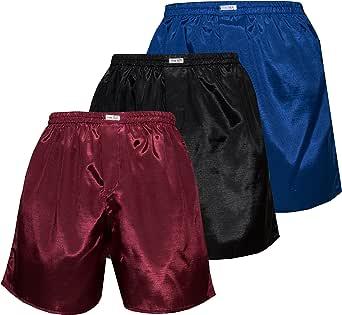 Thai Silk Set of 3 Men's Comfort Sleep Underwear Boxer Shorts Mix Color