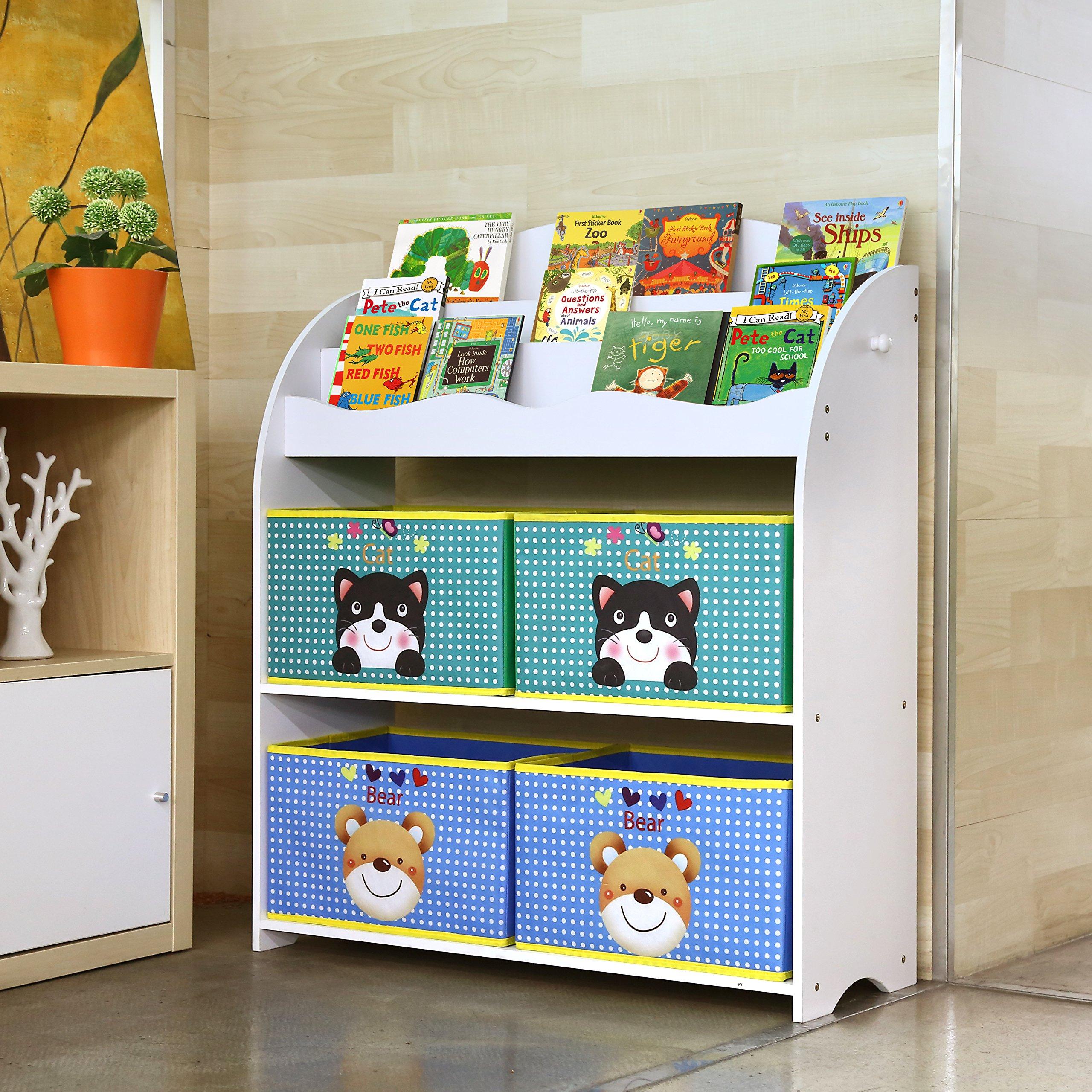 Scaffali E Librerie Per Bambini.Homfa Scaffale Per Giocattoli Libreria Per Bambini Organizzatore Con 4 Scatole Amovibili In Non Woven E 3 Ripiani Porta Libri