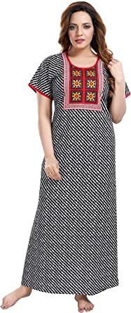 TRUNDZ Women's Cotton Printed Maxi Nighty (NTY2378_White_Free Size)