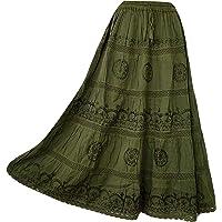 Doorwaytofashion Women Cotton Maxi Full Length Skirt Embroidered Boho Casual Festival Summer UK 10,12,14,16,18