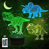 3D-nachtlamp voor kinderen, dinosaurus, 3 verschillende, met afstandsbediening en 16 verschillende kleuren, dimbaar, kerst- o