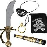 Balinco Piratenset 5-teilig bestehend aus Säbel + Augenklappe + Goldener Ohrring + Fernrohr + Totenkopfbeutel - Kostüm…