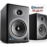 Audioengine A5+ 150W Kabellose Regallautsprecher | Eingebauter Analogverstärker | aptX HD Bluetooth 24 Bit DAC, Cinch und 3,5 mm-Klinken-Eingänge | Massive Aluminium-Fernbedienung (Schwarz)