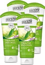 lavera Frische Kick Duschgel Bio Limone ∙ Belebt die Sinne ∙ Pflegedusche erfrischtes Hautgefühl ∙ vegan ✔ Bio Pflanzenwirkstoffe ✔ Naturkosmetik ✔ Natural & innovative 4er Pack (4 x 200 ml)