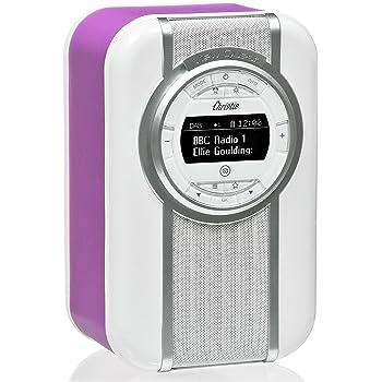 VQ Christie DAB/DAB+ Digital- und FM-Radio mit Bluetooth/NFC, Weckfunktion, drehbarem Display und Emaille-Blende - Leuchtende Orchidee