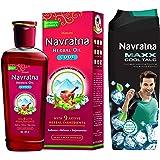Navratna Ayurvedic Cool Hair Oil with 9 Herbal Ingredients, 300ml and Navratna Maxx Cool Talc, 400gm