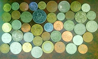 Arunrajsofia 20 Different Foreign Coins from This Lot for Students (Brown)