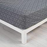 douceur d'intérieur 1641530 OPTIC Drap Housse Coton Anthracite/Blanc 90 x 190 cm