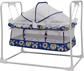 New Born Baby Swing Cradle With Mosquito Net and Canopy Best Baby Cribe For Your Baby Boy , Girl Recommended for 0 to 18 months (Blue) baby cradle, baby cradle swing, baby cradle with mosquito net, baby cradle spring, baby net cradle swing, cribs and cradles, baby swinger, baby swing, baby swing bed, baby sleeping swing, new born baby cradle, kids cradle, newborn baby cradle, newborn baby bassinets