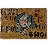 koko doormats felpudos Entrada casa Originales, Fibra de Coco y PVC, Felpudo Exterior Cuidado con EL Perro, 40x60x1.5 cm | Al
