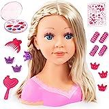 Bayer Design 90088AA Tête à Coiffer et Maquiller, Charlene Super Model avec Accessoires Maquillage, Longs Cheveux blonds, 27c