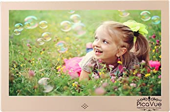 PicaVue Ultra Slim 10 Inches Digital Photo Frame High Resolution with Motion Sensor, SD/USB, Plays Photo Slideshow, Video, Audio, Luxury Gold