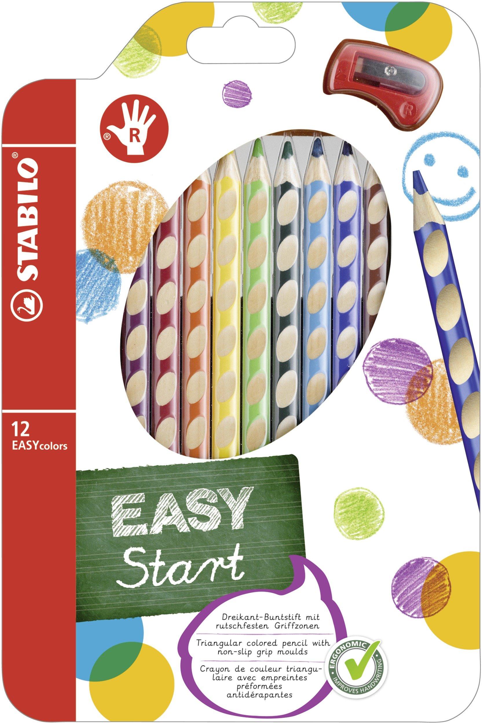 Lápiz de color ergonómico STABILO EASYcolors START – Modelo para DIESTROS – Estuche con 12 colores y 1 sacapuntas