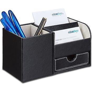 btsky 3/fach PU Leder Schreibtisch Organizer/ /Office Multifunktions-Stationery Halter Schreibtischset Visitenkarte Pen Handy-Fernbedienung Halter Kosmetik Organizer Storage Box Schwarz
