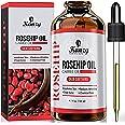 Kanzy Rozenbottelolie Pure 100% Biologische Koud Geperst 120ML, Rosehip Oil Veganistische Behandeling voor Huid, Gezicht, Haa