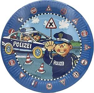 POLIZIST PAUL Geschirr Deko Mitgebsel Polizei Kindergeburtstag Kinder Party LM