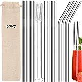 grilljoy 13pcs pajitas reutilizables de metal para beber - pajitas de acero inoxidable de 8.5 pulgadas - compatibles con vaso