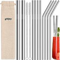Grilljoy 13PC Pailles Réutilisables en Inox avec 2 Brosses de Nettoyage et Sac de Rangement, Pailles en Métal en…