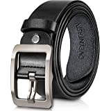Men's Belt, OVEYNERSIN Genuine Leather Causal Dress Belt for Men with Classic Single Prong Buckle