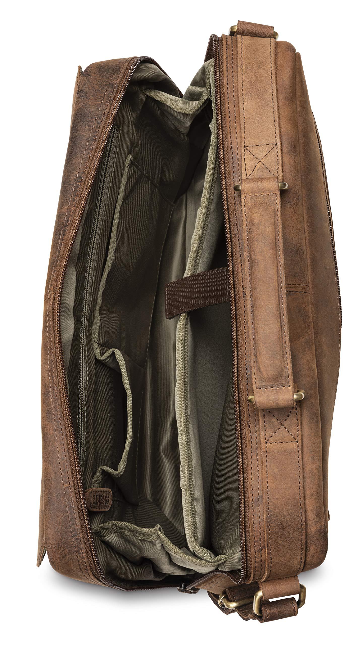 LEABAGS Marseillle Bolso Bandolera de auténtico Cuero búfalo en el Estilo Vintage – BrownFox – Grande