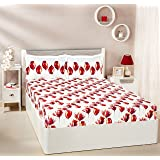 Amazon Brand - Solimo Tulip Twirl 144 TC 100% Cotton Double Bedsheet with 2 Complimentary Pillow Covers - Red, Floral