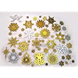 StepsToDo Snowflake Party Decoration Ornaments Gift Set Type B. Total 45 Pieces. 19 Pieces of 9cm. 26 Pieces of 2cm. for Tree