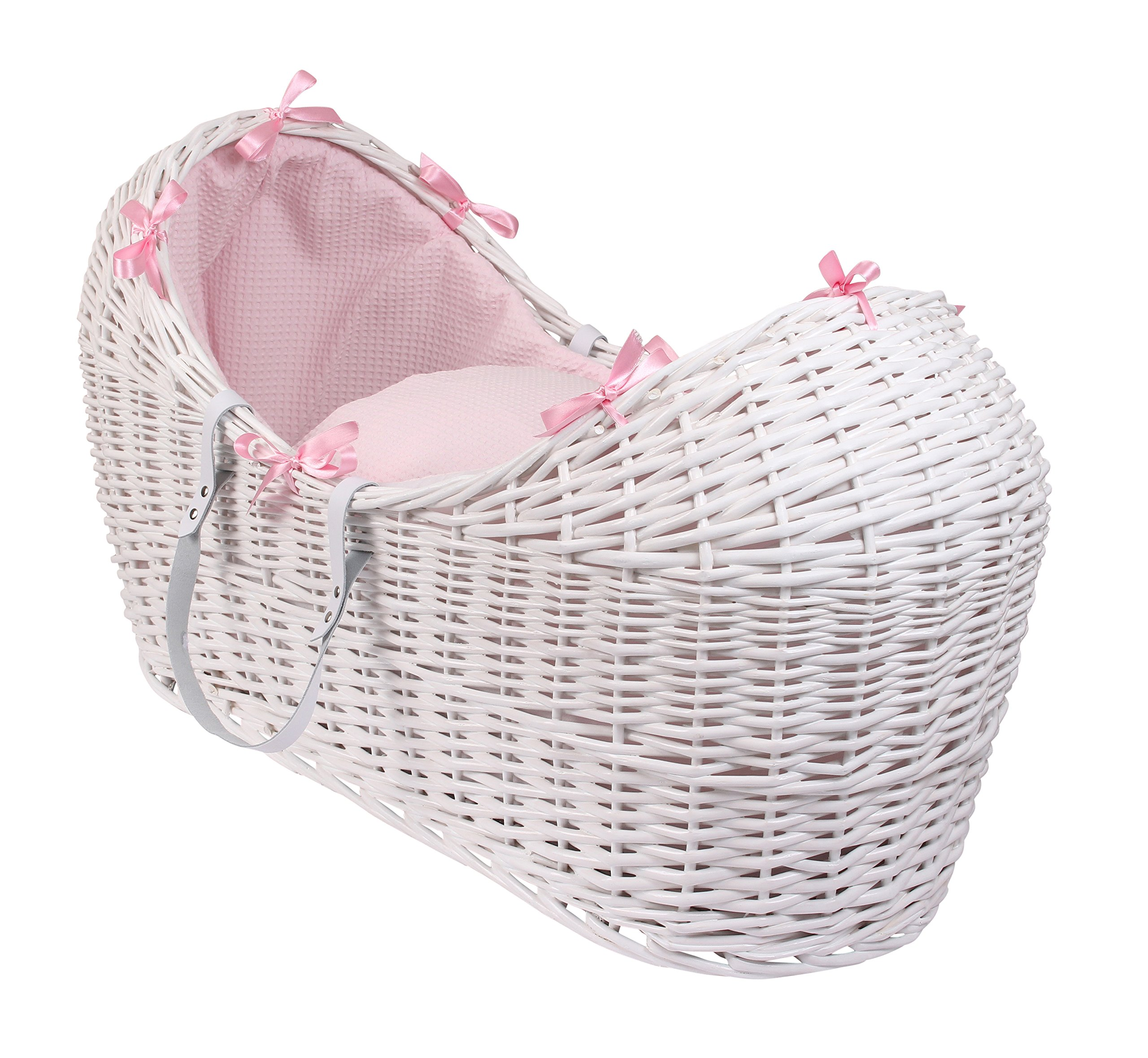 Waffle White Wicker Noah Pod - Pink  A contemporary Moses basket design exclusive to Clair de Lune that creates a cocooned & calming sleeping space for baby. Comes complete with padded liner, delicately embroidered 2.0 tog coverlet and mattress. Dressings are made from super soft and breathable Waffle cotton fabrics. 1