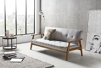 SalesFever® Schlafsofa, Sofa Bett, Klappsofa Im Hellgrauem Stoff,  Abgestepptes Design,
