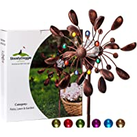 SteadyDoggie Solar Wind Spinner Jewel Cup 75in Tall (1.9m) - Multi-Colour LED Light Display from Solar Powered Glass Ball - Dual Direction Kinetic Wind Spinner for Patio Lawn & Garden