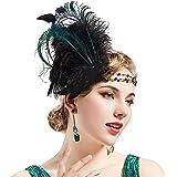 Coucoland 1920s Stirnband Feder Damen 20er Jahre Stil Charleston Haarband Great Gatsby Damen Fasching Kostüm Accessoires
