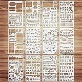 VETPW 12 Pièces Mixte Bullet Journal Pochoir, Pochoir Dessin Peinture, Pochoir à Dessin Réutilisable Plastique Pochoir pour B