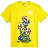 Super Mario Maglietta Bambino con Personaggi Videogioco Supermario Kart, Magliette Manica Corta Gialla, Abbigliamento Estivo,