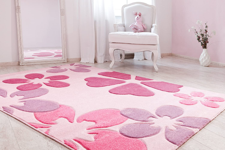 Kinderteppich rosa  Kinderteppich Mädchenteppich Blumenteppich Kinderzimmer ...