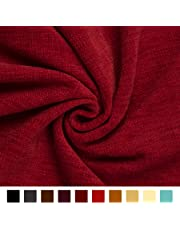 Encasa Homes Chenille Textured Fabric Decorative Soft Rich Cloth with Plain Colours for Sofa, Furnishing, Upholstery, Curtains, Cushions and Craft (Scarlet Red, 39 x 55 inch/100 x 140 cm - 1 Meter)