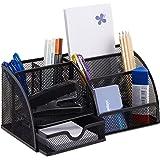 Relaxdays Bureauorganizer 6 planken, compacte bureauorganizer metaal, lade, notitiehouder, pennenkoker, zwart