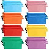 Belle Vous Pochette Plastique Zip Transparentes (Lot de 24) - Pochette Zippée (8 Couleurs) - Pochette Plastique Étanche Multi