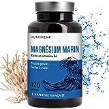 Nutrimea Magnésium Marin + Vitamine B6 - 300 mg / jour - 120 gélules d'origine végétales jusqu'à 4 mois de cure - Fabrication française , Combat efficacement la fatigue