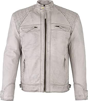 Mens Retro Vintage Grey Style Zipped Diamond Casual Biker Real Genuine Leather Jacket