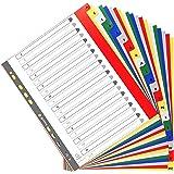 Exacompta - Réf. 90E - Intercalaires en polypropylène avec 20 onglets imprimés alphabétiques de A à Z en couleur - Page d'ind